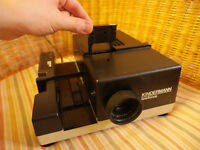Slide Projector Kindermann Telefocus single or tray feed, Fine full working Condition