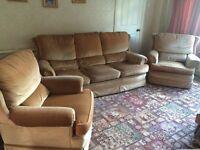 3 piece beige fabric sofa suite (2 armchairs, 3 seater sofa)