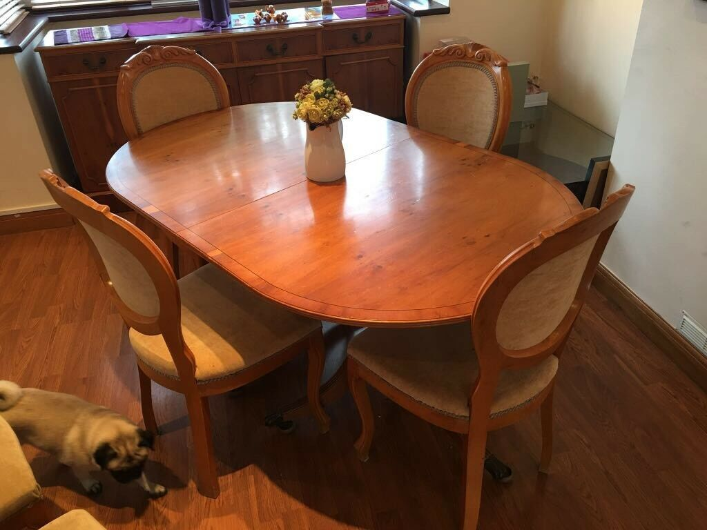 Extendable Wooden Yew Dining Table 6 Chairs