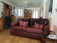 Top quality Thomas Lloyd leather sofa. Burgundy VCG