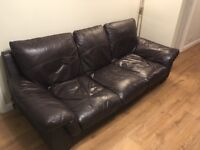 Leather Sofa 3 Seater - Brown