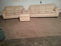 3&2 Cream Leather With Buffet Sofa Couch - DELIVERY AVAILABLE