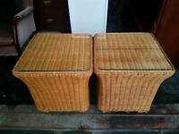 2 x woven wicker side tables with glass top. Ideal for conservatory. Like new