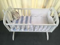 V&M Swing Crib, wooden. Newborn - 6 Months approx. White