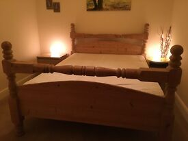 King Size | Stripped Pine Bed (with mattress)