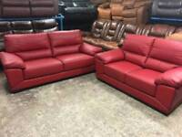 CSL ex display red leather 2 and 3 seater sofas