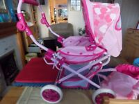 KIDS FOLD UP DOLLS PUSHCHAIR & CARRY COT EXCELLENT CONDITION