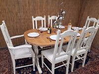 French Shabby Chic Extending Dining Table With 4 Chairs + 2 Carver. May Be Delivered..