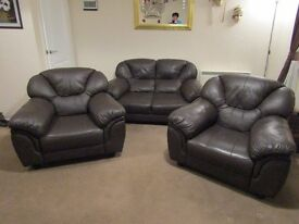 Dark Brown Soft Leather Effect 2 Seater Sofa & 2 Armchairs