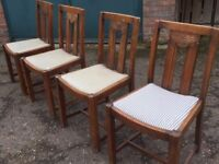 Four vintage dinning chairs (oak) (vintage, antique, retro)