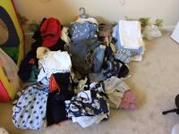 Boy's baby clothes bundle, toys, moses basket