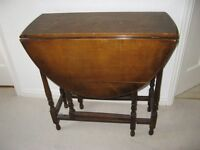 SMALL DOUBLE DROP LEAF WOOD TABLE FOR SALE, IDEAL FOR SINGLE PERSON OR LIMITED SPACE