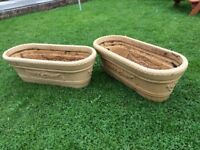 2 LARGE BROWN TROUGHS/PLANTERS