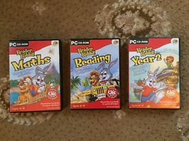 3 x PC CD ROM Reader Rabbit Educational Aids for Ages 6-8 Years.