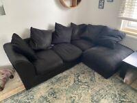 L shape corner sofa - black velvety - needs to go TODAY