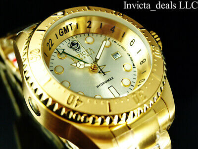 Invicta Reserve 52mm SKULL HYDROMAX SWISS Movement Silver Dial Gold Tone Watch