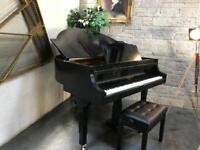 Rare Black Art Deco Strohmenger Baby Grand Piano & New Adjustable Stool - CAN DELIVER