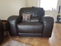 Brown leather couch and chair