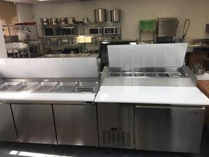 Restaurant Salad, Sandwich, Pizza Prep Table, Preperation Equipment, Mega Top, Half Size , Cold Table, Sneeze Guard