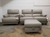 FABB SOFAS ALPHA GREY LEATHER SUITE 2 SEATER SOFA, ARMCHAIR & STORAGE FOOTSTOOL DELIVERY AVAILABLE