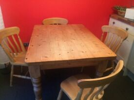 Solid Pine Farmhouse kitchen table and chairs