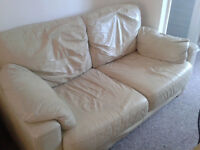 2-3 cream leather sofa in very good condition in friendly price