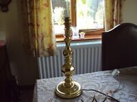 "Table Lamp base brass looking approx 18"" high great condition"