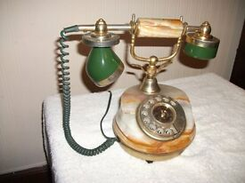Vintage Onyx and Brass dial telephone
