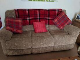 Sofa 3 piece suite - 3 seater with arm chair and recliner