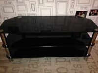 Black tempered glass TV unit - great condition