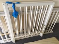 White cot with all fittings and mattress with teething protector rails. Dismantled read to go.