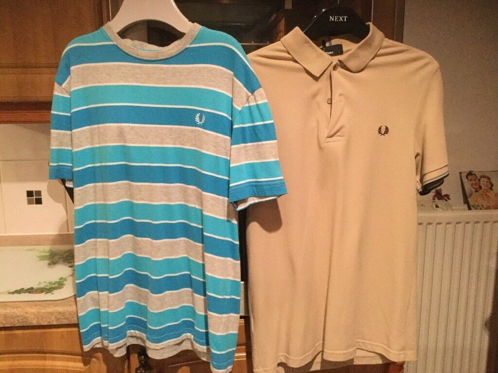 FRED PERRY TOPS. 1 X POLO AND TEE. Men's size small. BEING SOLD AS A BUNDLE £10 FOR BOTH !!!