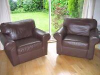 2 leather armchairs in pristine condition - £40