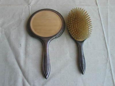 alter Hand Spiegel und Kleiderbürste WMF Art Deco versilbert