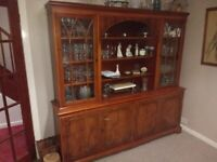 Classis Dining Room Suite - table, six chairs and glazed dresser in yew