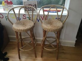 Wicker chair and 2 wicker bar stools