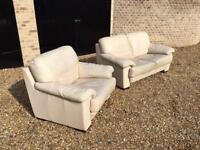 White Two-seater Sofa and Two Armchairs - Must Collect by 29th September