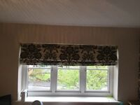 Damask black blind vgc. 173cm x 100cm