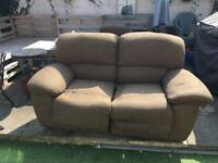 Recliner sofa and matching footstool