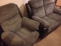 £350 BRADLEY RECLINER SOFA AND CHAIR IN CHARCOAL
