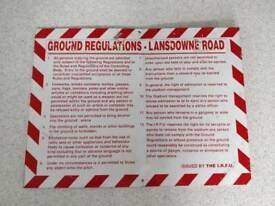 Original aluminium regulations sign from Lansdowne road rugby