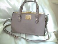 DUNE - TAUPE - TWO HANDLE GRAB BAG WITH SHOULDER STRAP -
