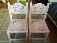 Pink Painted Wood Childrens Nursery Furniture Set