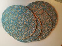 Khaadi blue patterned table mats x4