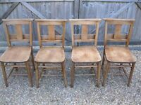 4 OLD CHURCH / CHAPEL CHAIRS IDEAL FOR KITCHEN TABLE . Delivery possible. MORE AVAILABLE ALSO PEWS.