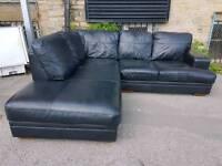 Sofa - Extra Comfy Quality Black Leather Corner Sofa