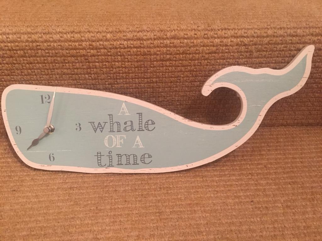 'Next' Duck Egg Blue 'Whale' Clock