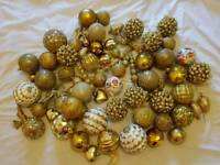 Gold and white Christmas tree baubles