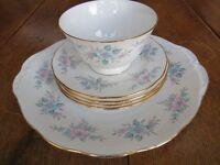 Colclough China plates, Cake Plate + Sugar Bowl – Coppelia pattern