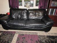 Black leather 3- seat sofa